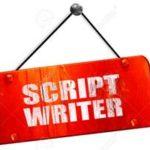 script writer, 3D rendering, red grunge vintage sign